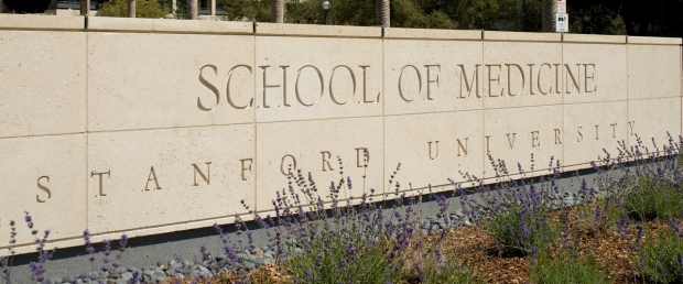 Stone wall inscribed with School of Medicine, Stanford University