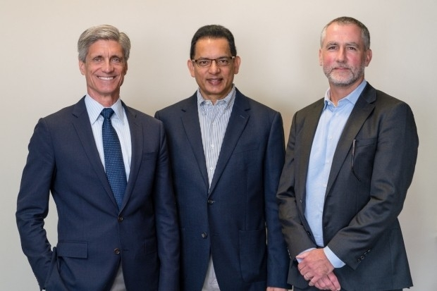 Frank Longo, chair of neurology and neurological sciences; Asad Jamal, founder and chairman of ePlanet Capital; and Michael Greicius, the inaugural holder of the Iqbal Farrukh and Asad Jamal Professorship. Photo by Paul Keitz