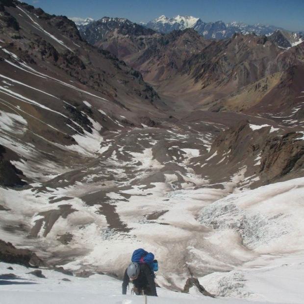 Sinclair climbing Aconcagua in Argentina
