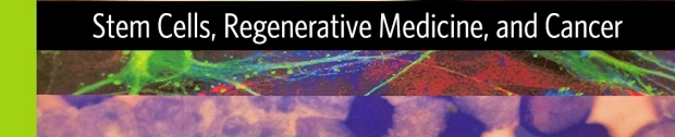"""Color graphic banner with text reading """"Stem Cells, Regenerative Medicine, and Cancer"""""""