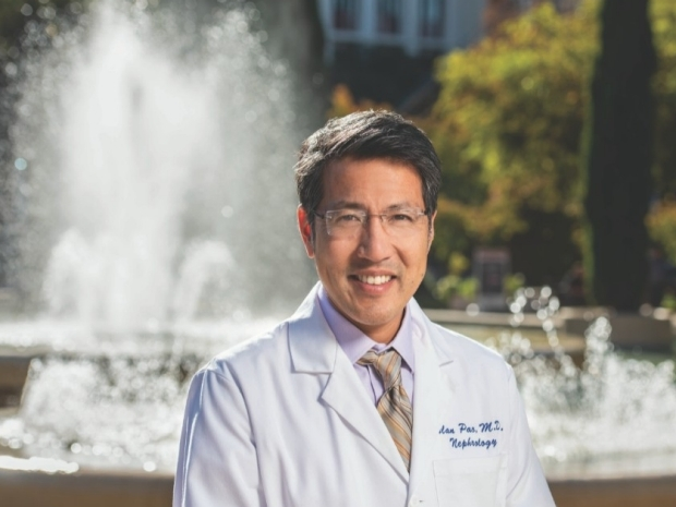 One doctor in front of Stanford Hospital