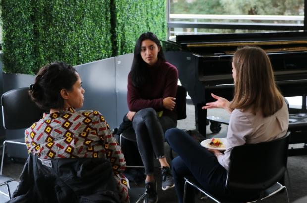 A conversation between alumni and graduate student