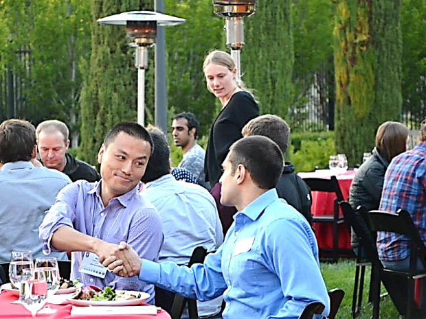 People meeting at an event