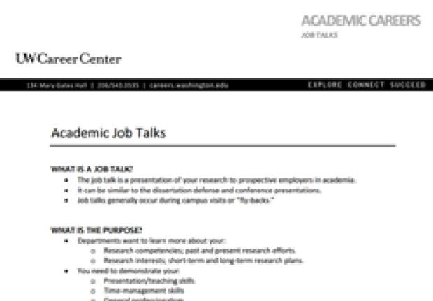 Academic Job Talks slide