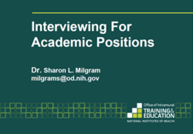 Interviewing for academic positions slide image