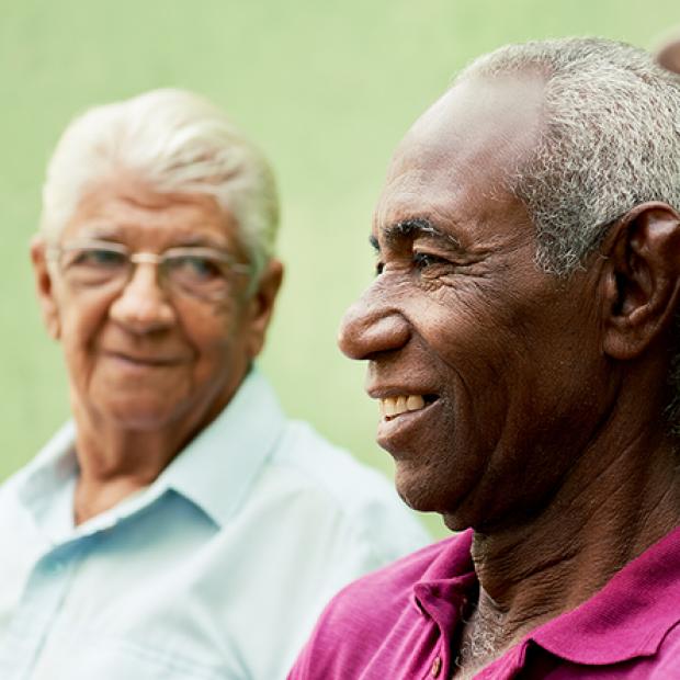 Elderly men smiling image