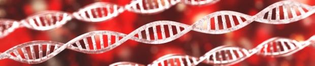 DNA spiral, RNA, banner, 3d rendering
