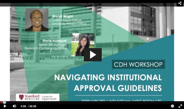 CDH Workshop Navigating Institution Approvals