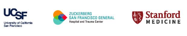logos: UCSF, Zuckerberg San Francisco General, Stanford Medicine