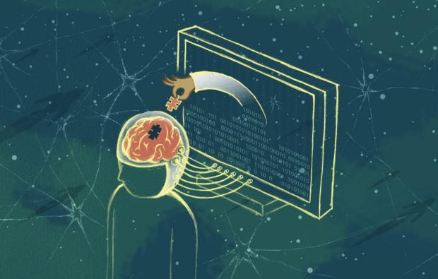 Drawing of brain and machine interacting
