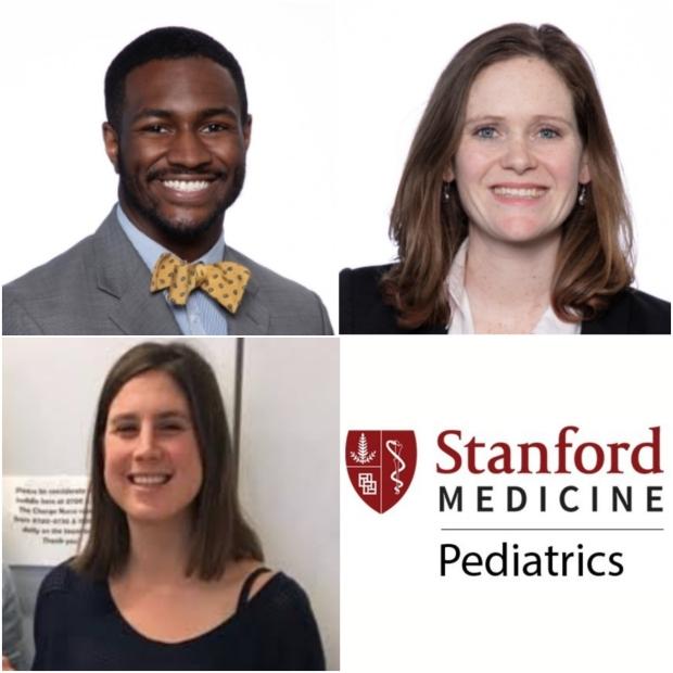 Picture of Kamaal Jones, Lee Trope, Julia Raney and the Stanford Medicine Pediatrics logo
