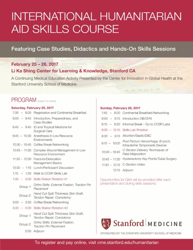 International Humanitarian Aid Skills Course Stanford Center For