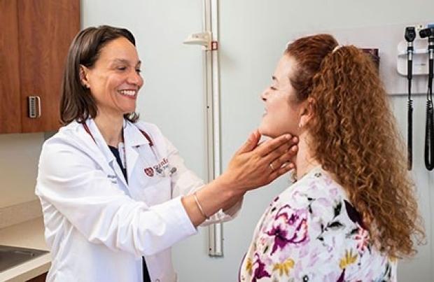 Megan Mahoney evaluates a patient