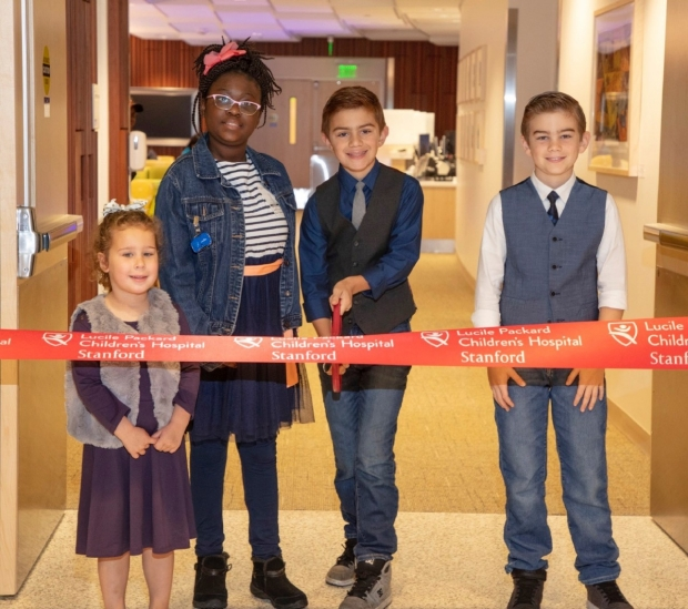 Children cut ribbon - LPCH Bass Center