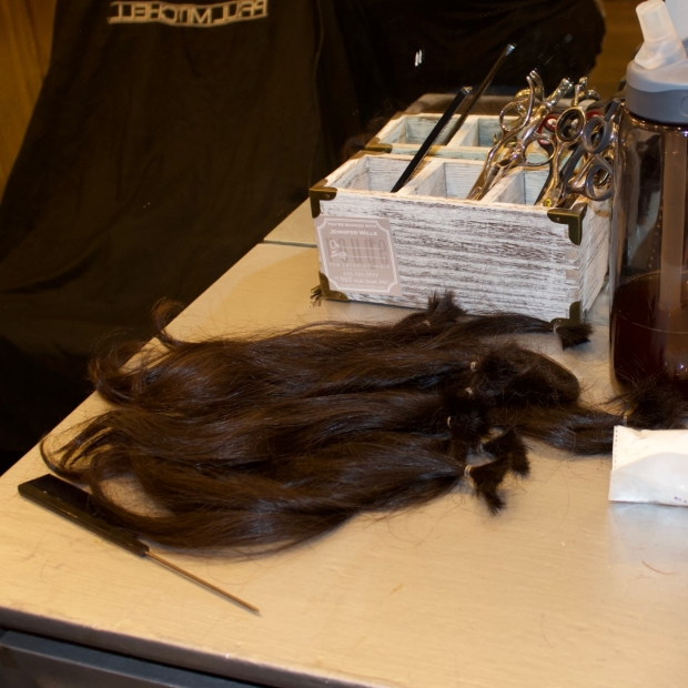 Nick Bondy's hair after, ready to be woven into a wig.