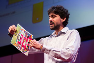 Manu Prakash with paper microscope