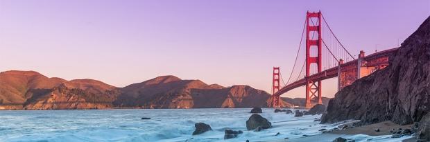 Golden Gate Bridge, Mount Tamalpais, and the San Francisco Bay at sunset