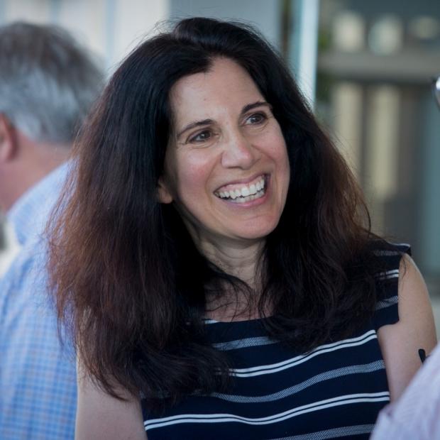 Sylvia Plevritis smiling at 2019 Phil Lavori Retirement Party
