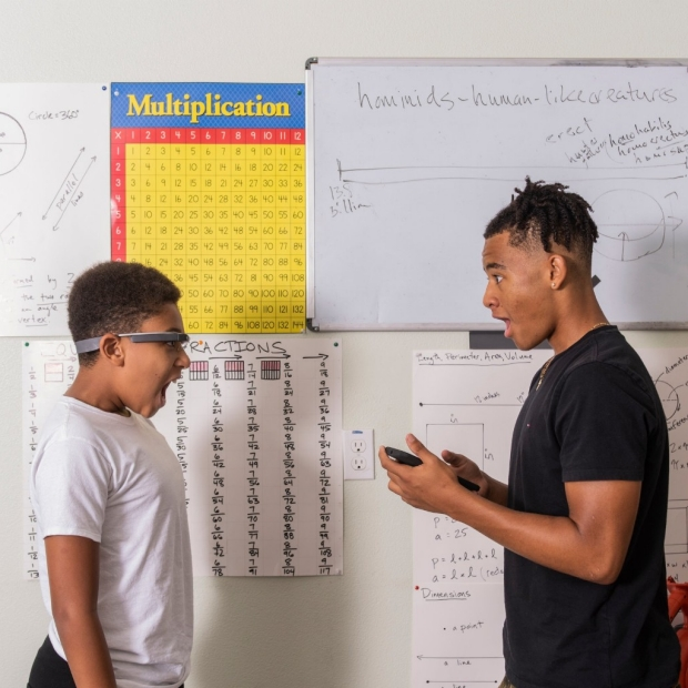 Image of two young men with Google Glass, from NYT