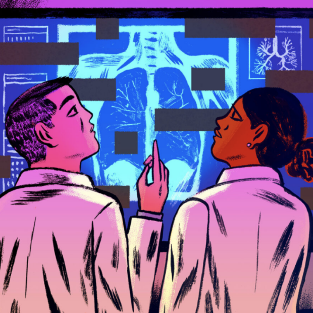 Purple tinted illustration depicting medical workers looking at xray of lungs, by Mike Reddy for STAT