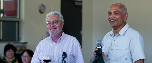 Senior Research Scientist Balasubramanian Narasimhan (right) toasts Phil Lavori's 2019 retirement, image courtesy of Saul Bromberger & Sandra Hoover Photography