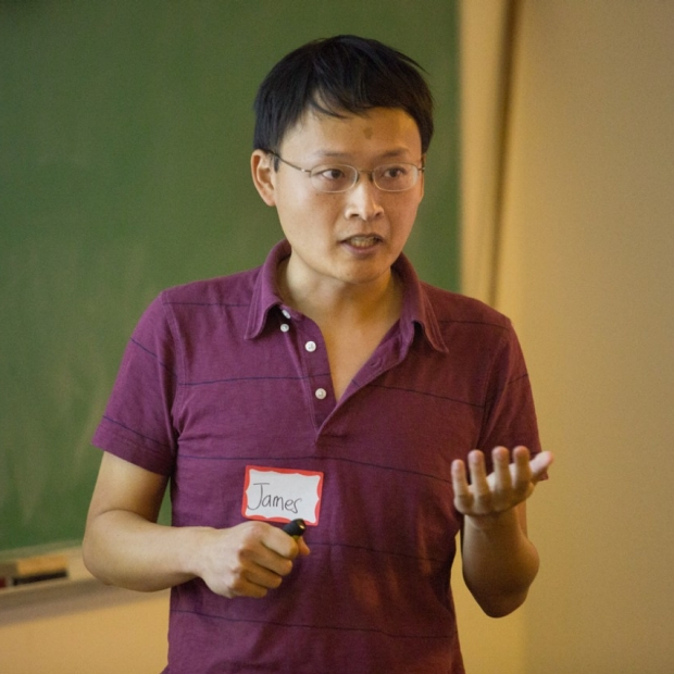 James Zou presents at 2018 DBDS Symposium, image courtesy of Saul Bromberger & Sandra Hoover Photography