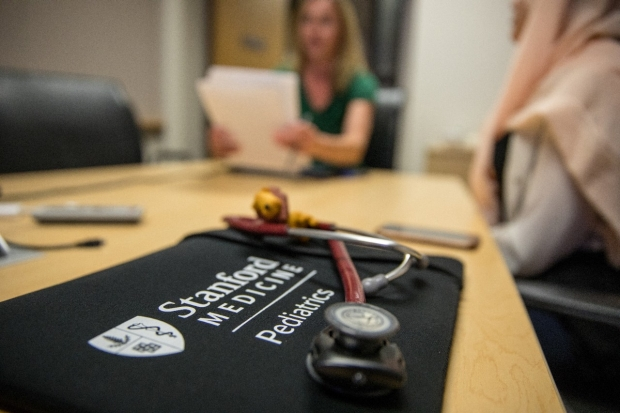 Stanford Pediatrics laptop case and stethoscope.