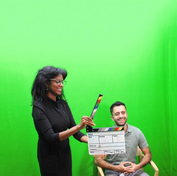 Lauren and Erfan in Green Screen Room