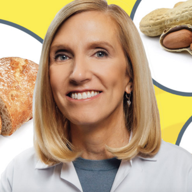 Kari Nadeau image with food allergens in background from Stanford Magazine story