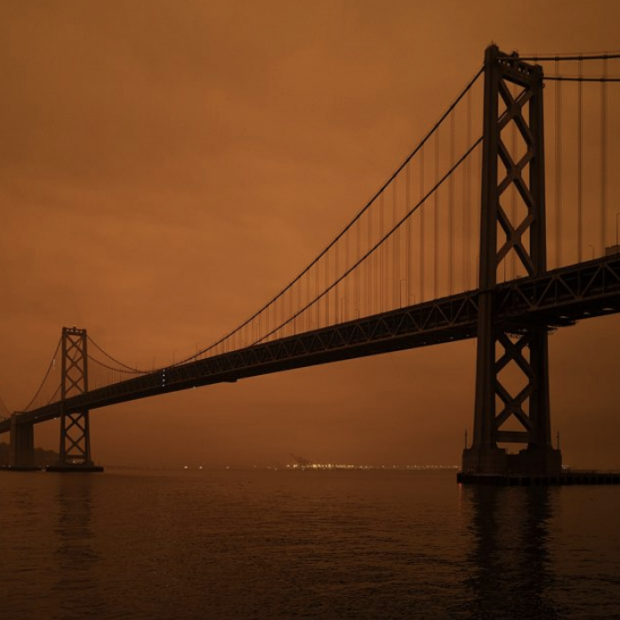 Wildfires in September 2020 created hazardous air quality in the San Francisco Bay Area, turning the sky orange for an entire day. In the American West, 50 percent or more of PM2.5 in the air is due to wildfire smoke. (Image credit: Christopher Michel via Flickr)