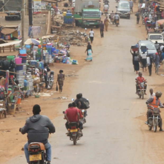 Screenshot of banner image from Stanford Global Health news story, featuring Subsaharan African street scene