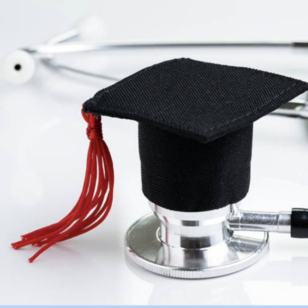 Stethoscope with black graduation cap image from Scope Blog post