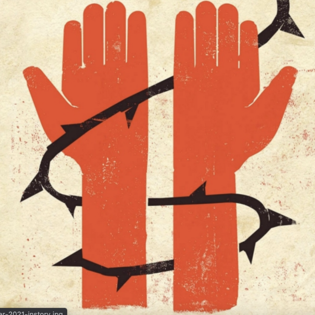 Screenshot of illustration by Edel Rodriguez from Stanford Medicine Magazine article, showing artwork of two red hands and wrists wrapped in black barbwire