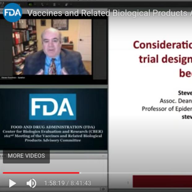 Screenshot of Steve Goodman at FDA Pfizer Hearings