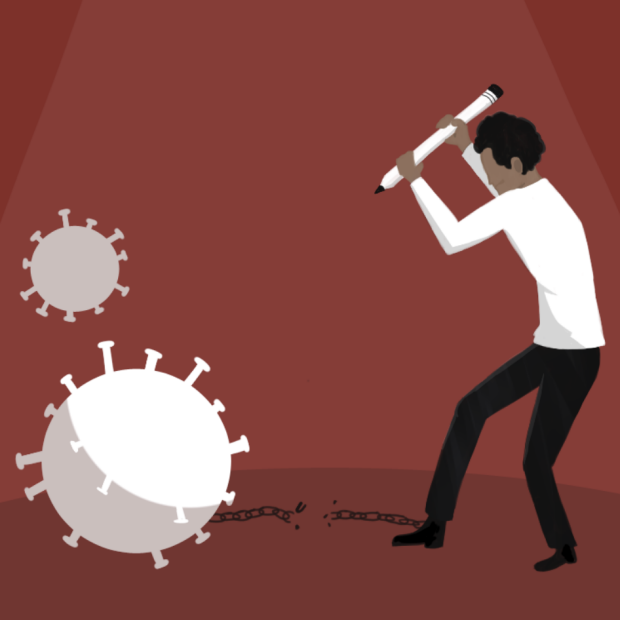 Illustration from Stanford Daily story of man battling COVID virus