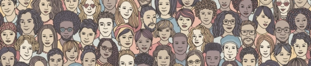 Diversity banner with cartoon faces in a crowd