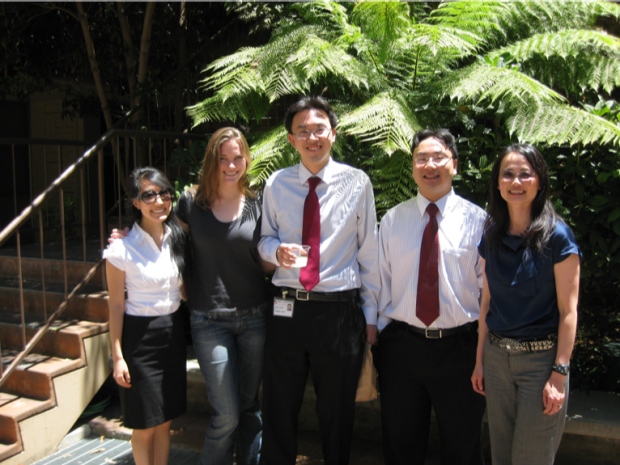 Photo of Dr. Liao and colleagues outside of conference