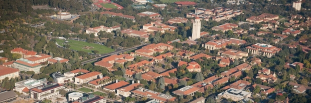 An aerial view of Stanford