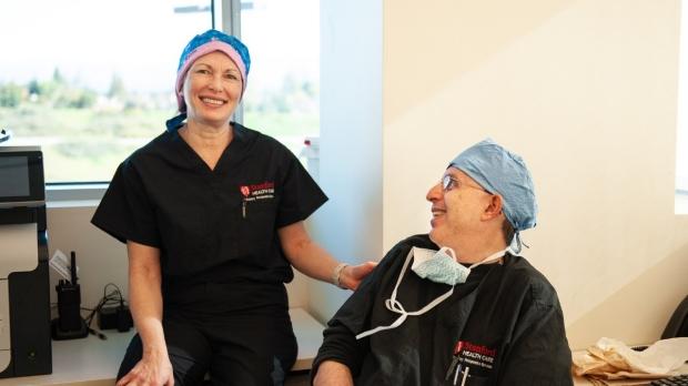 Breast surgeons Drs. Mardi Karin and Fredrick Dirbas.