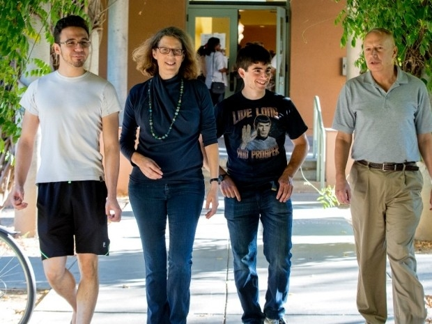 Dr. Parsonnet walking with resident undergrads