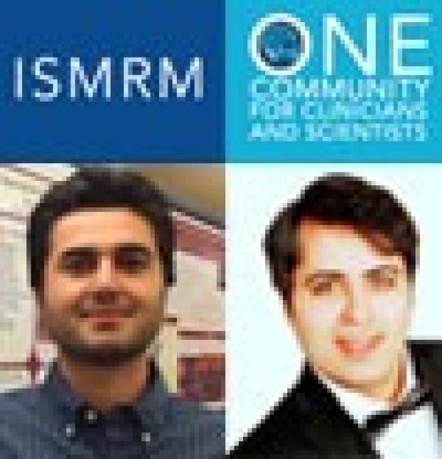 ISMRM logo and photos of Garmestani and Zanganeh