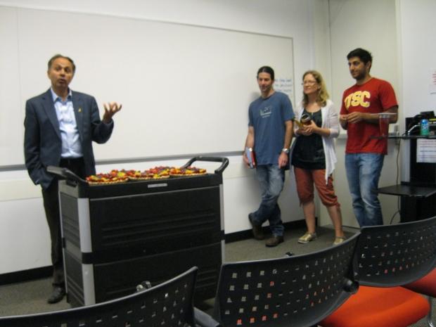 Photo of Sanjiv Sam Gambhir, Aileen Hoehne, Ohad Ilovich, and Andrew Sabour