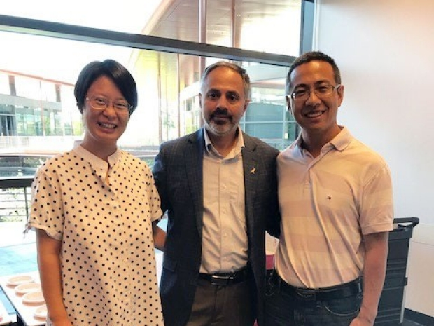Photo of Lingbo Mable Zhang, Sanjiv Sam Gambhir and Peter Kezheng Wang