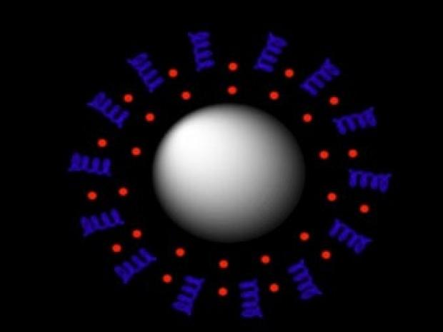 Illustration of a nanoparticle designed for precision ultrasound drug release