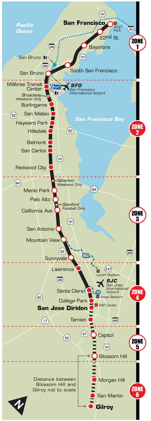 Caltrain system map