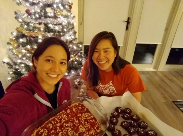 Two lab members baking desserts