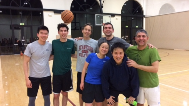 Sirich Lab members and other in the division play basketball together