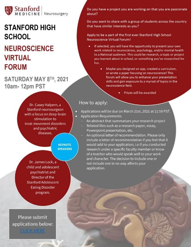 Neuroscience High School Virtual Forum Flyer