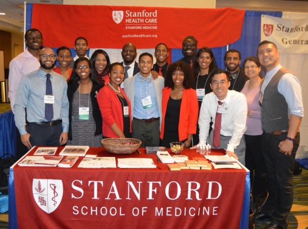 Photo of Stanford faculty, residents, and student representatives at the Student National Medical Association annual conference in San Francisco (March 2018)