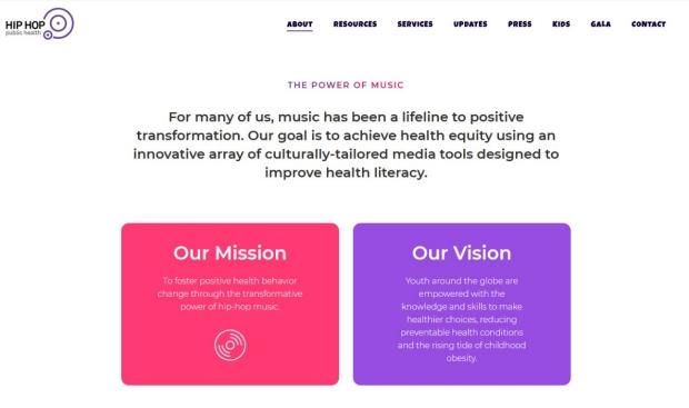 Hip Hop Public Health Website screenshot